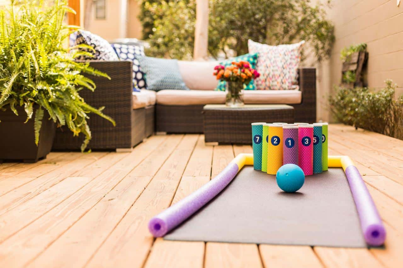 Diy backyard bowling for kids