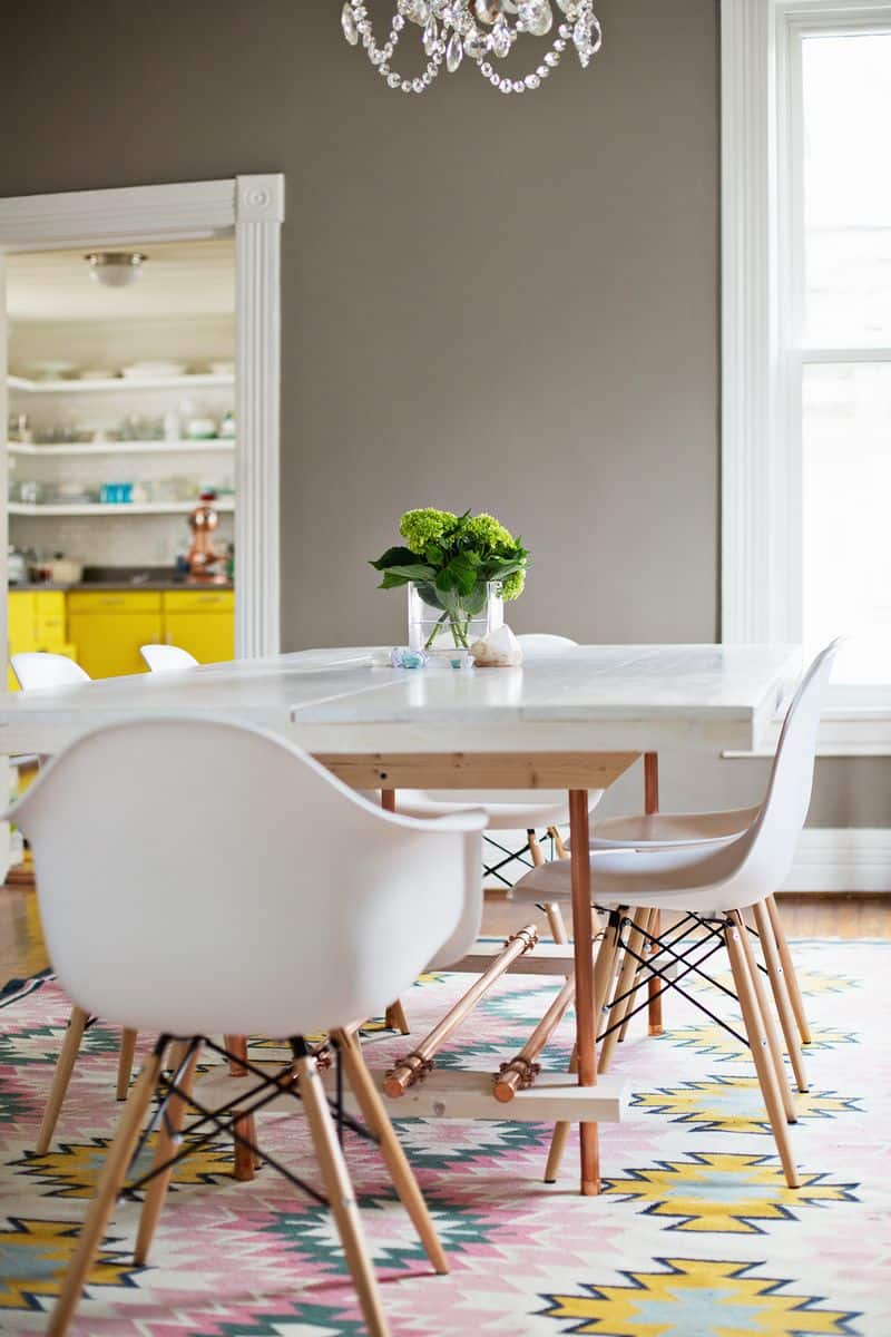 Diy copper leg dining room table
