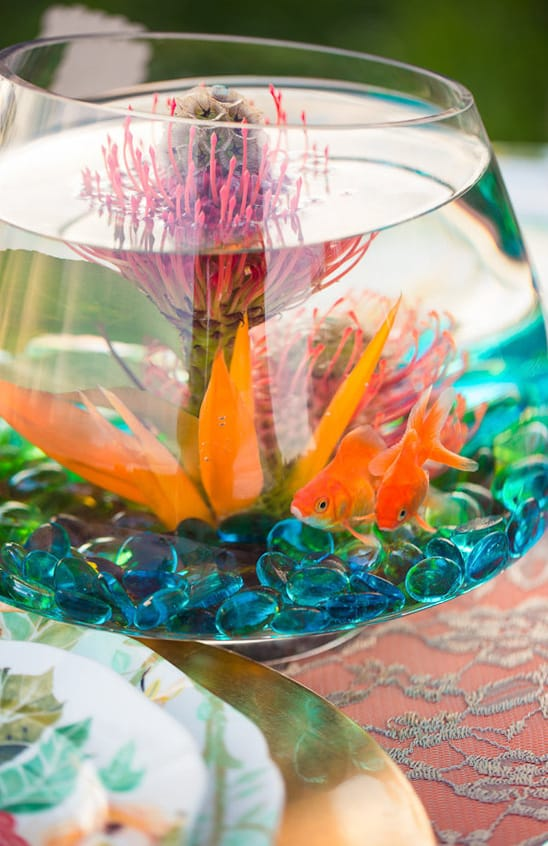 Diy goldfish wedding centerpiece