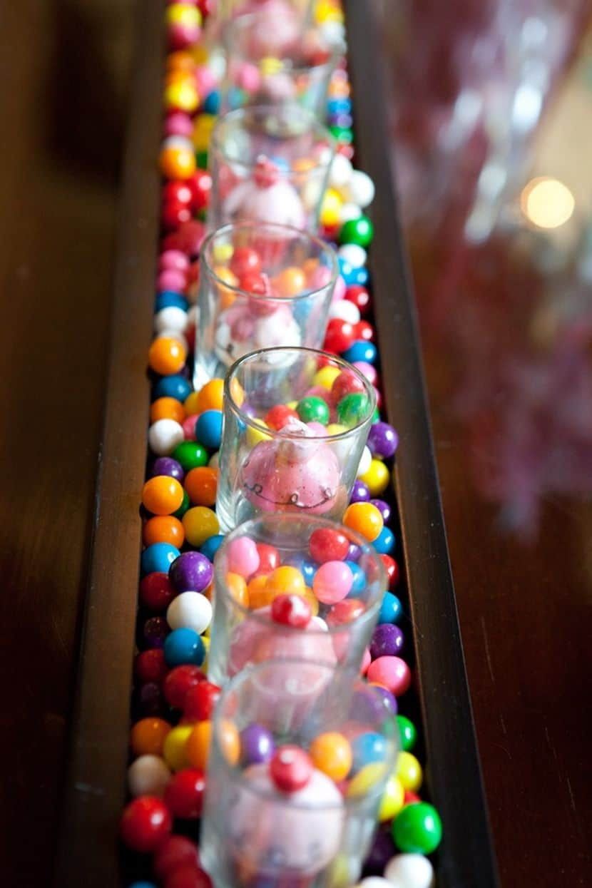 Diy kids table gumball centerpiece