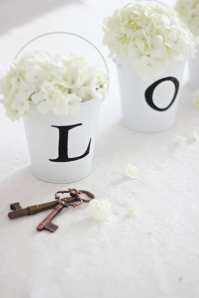 Diy love buckets wedding centerpiece