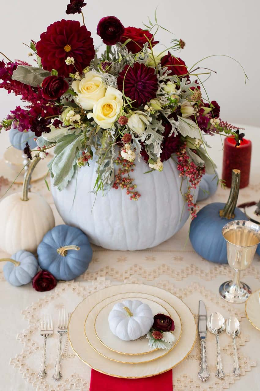 Diy painted pumpkin centerpiece