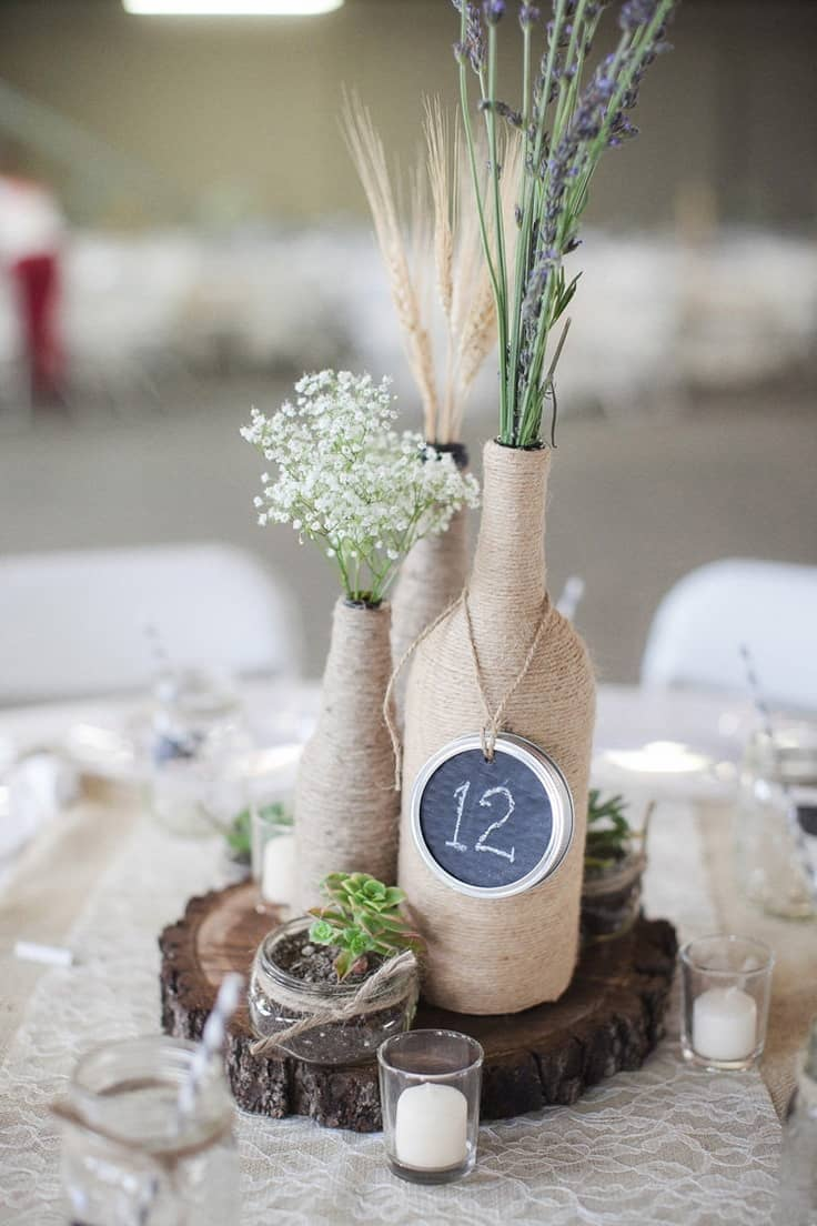 Diy wine bottle wrapped centerpieces