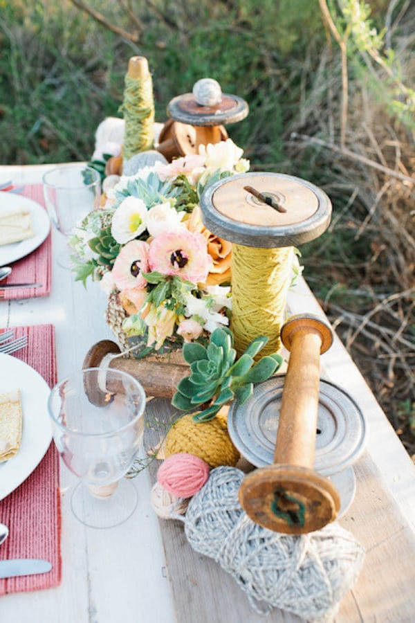 Diy wooden spool wedding centerpiece