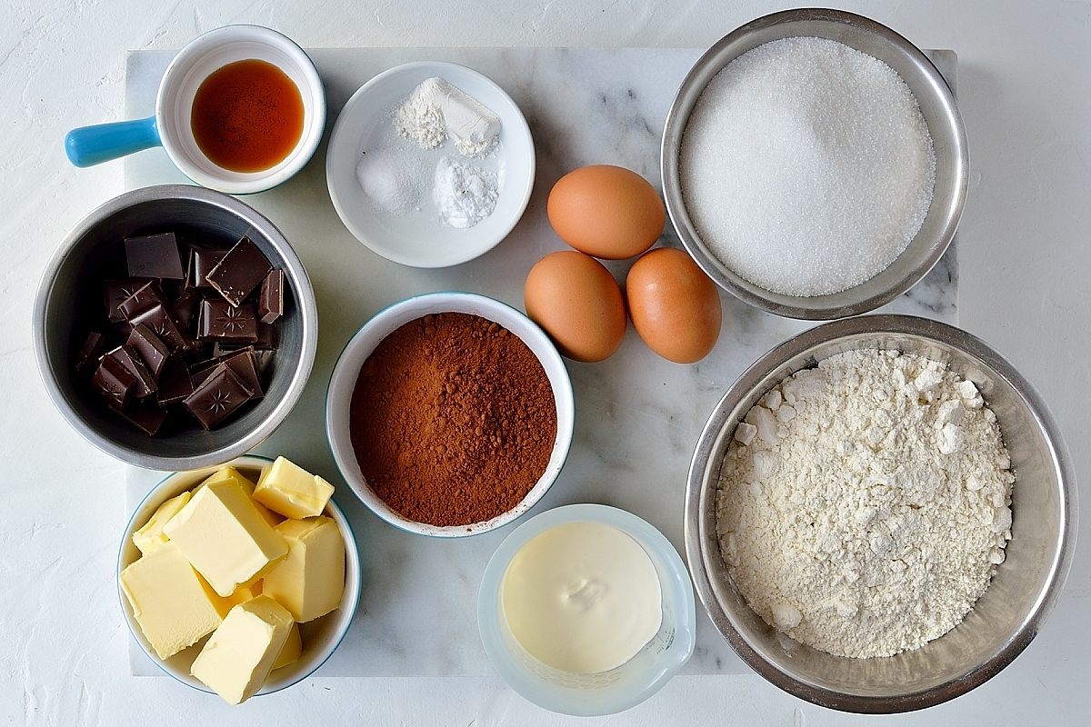 Double chocolate bundt cake ingredients