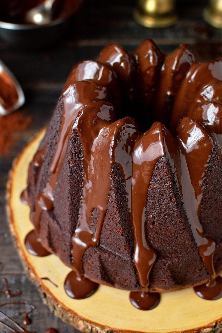 Double chocolate bundt cake - rich, moist sour cream chocolate cake topped with silky smooth dark chocolate ganache.