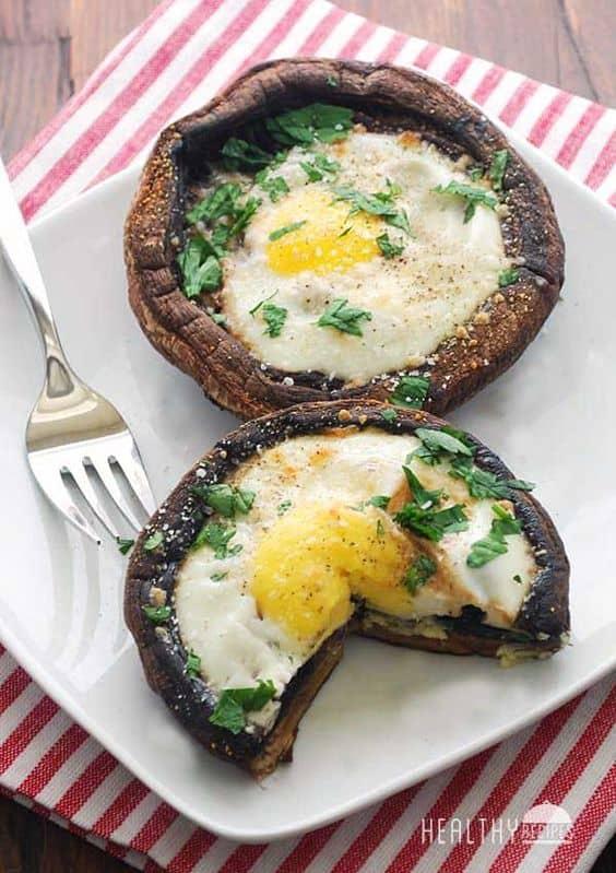 Eggs baked in portebello mushrooms