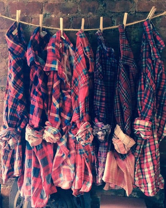 Flannel bridesmaids shirts for fall wedding