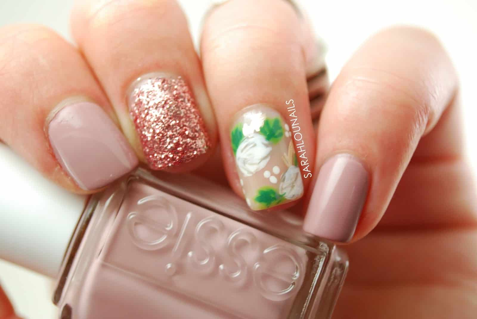 Floral and glitter wedding nail designs