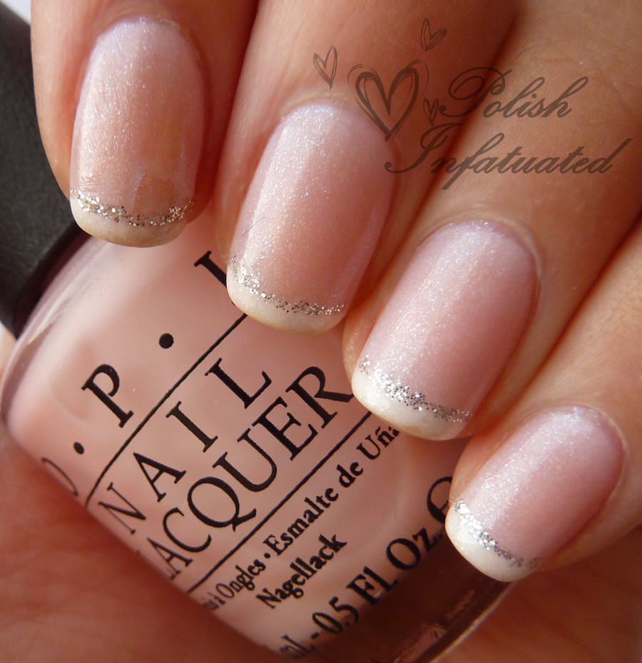 French tip with glitter wedding nail design - 15 Wedding Nail Designs For The Bride-To-Be