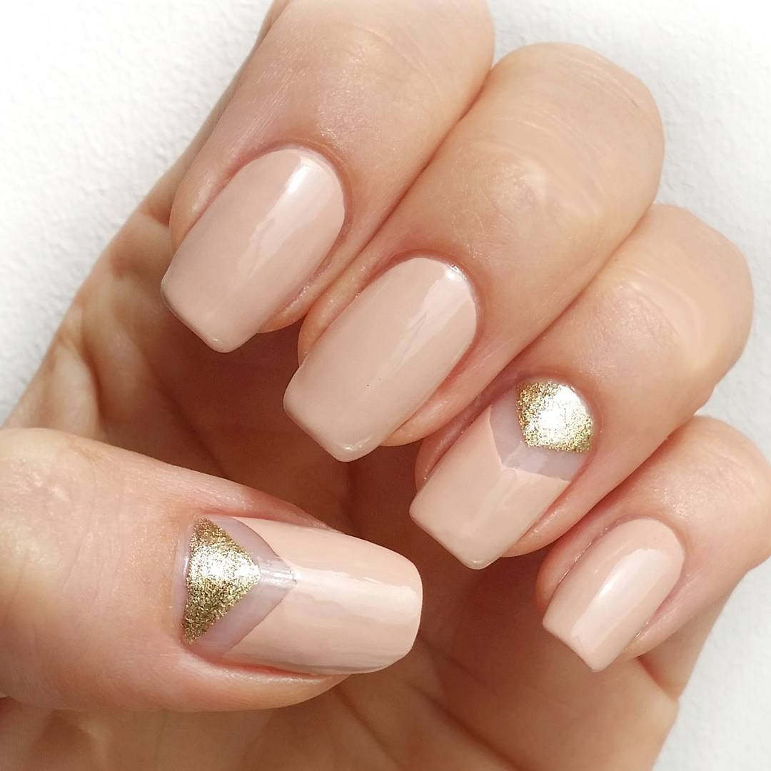 Gold and pink chevron wedding nails