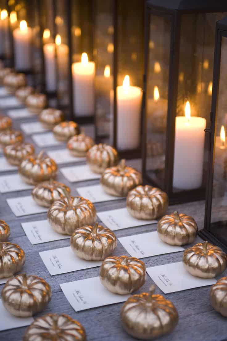 Golden pumpkin place cards