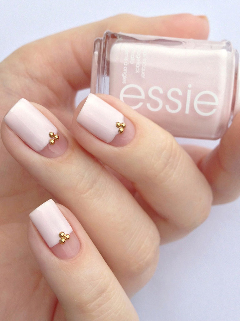 Light Pink With Gold Accent Wedding Nails