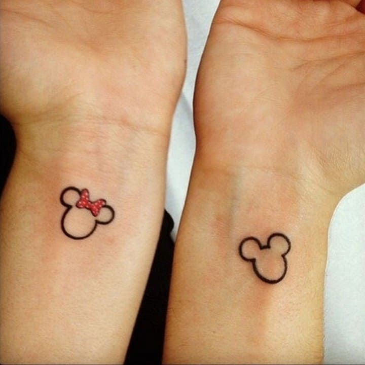 Mickey and minnie couple tattoo idea