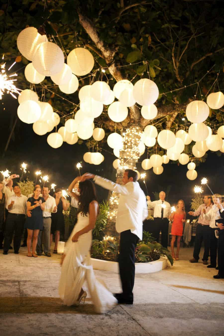 Paper lanterns outdoor wedding