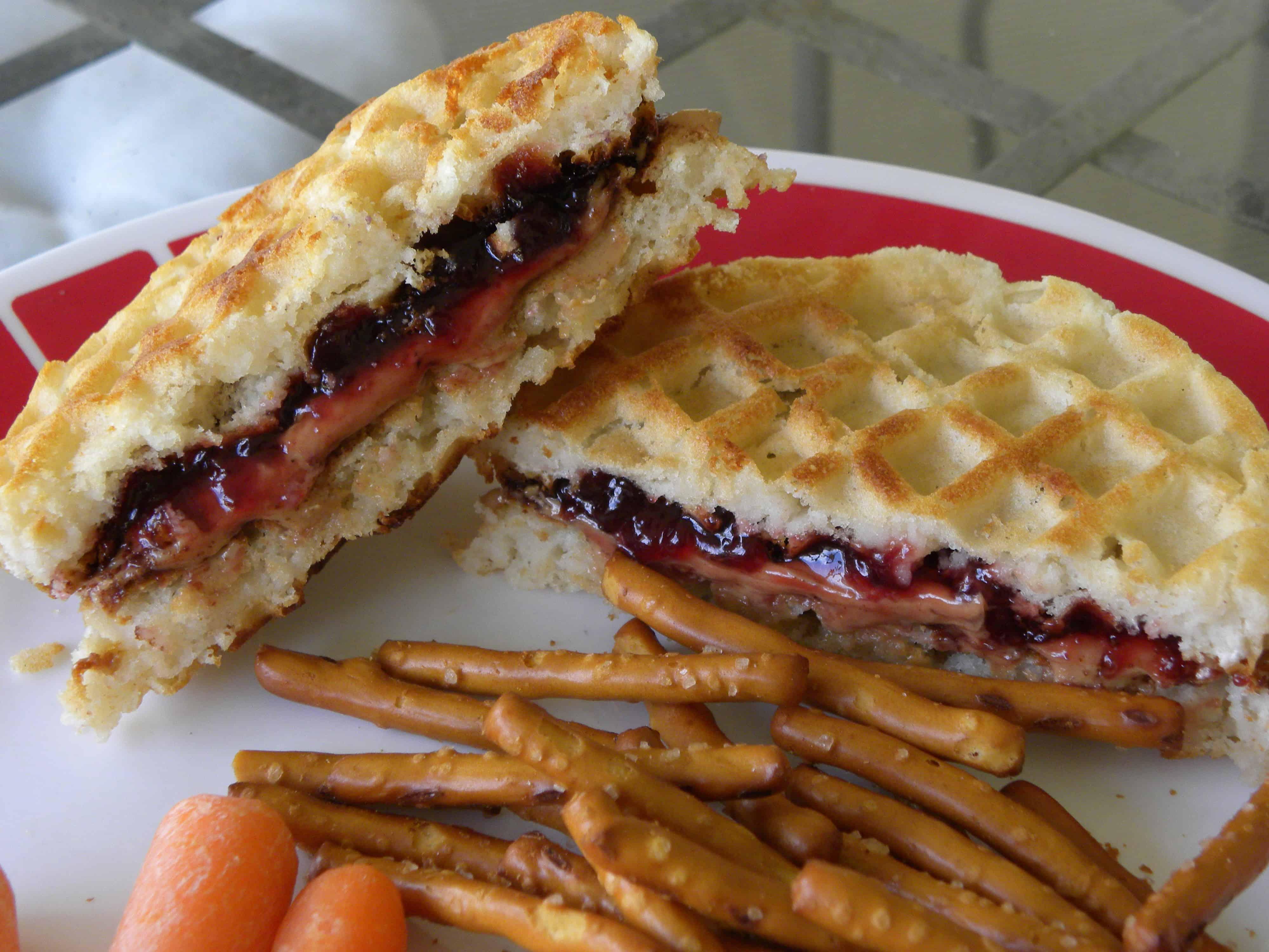 Pb&j waffle sandwich