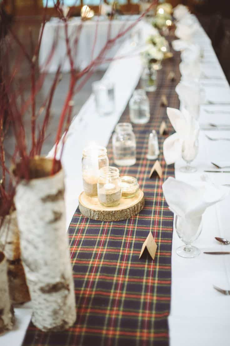 Plaid wedding day decor