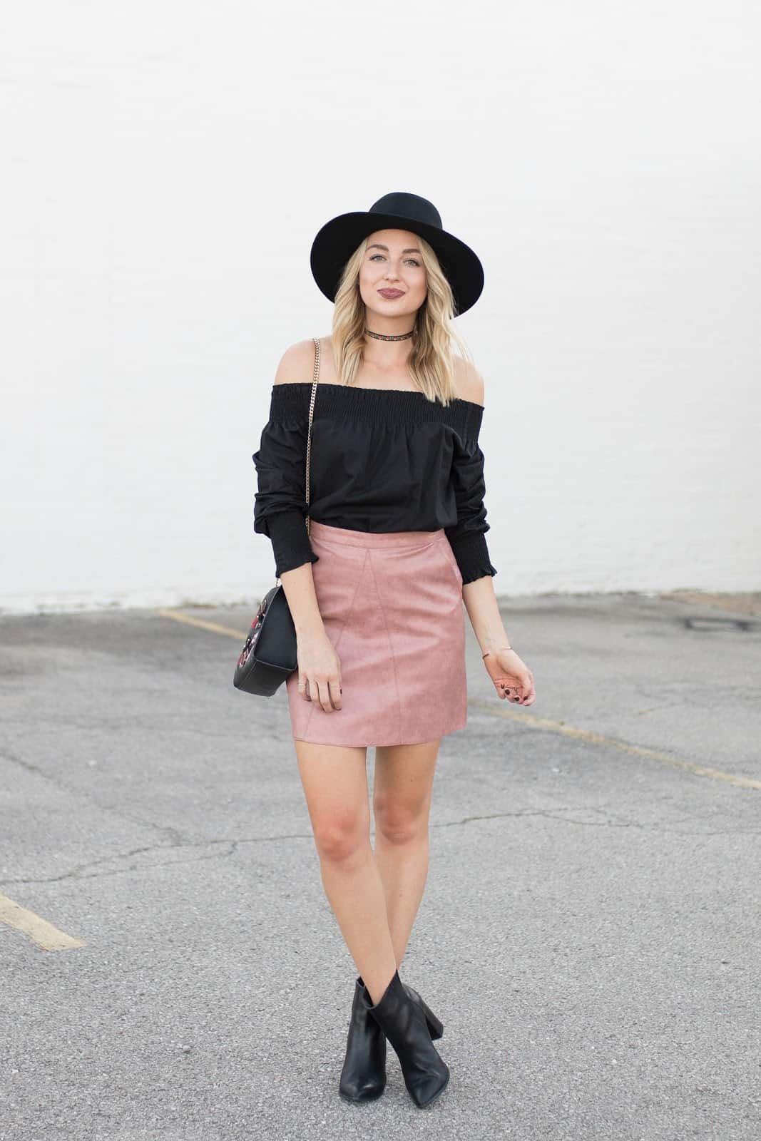 Pleather skirt and blouse