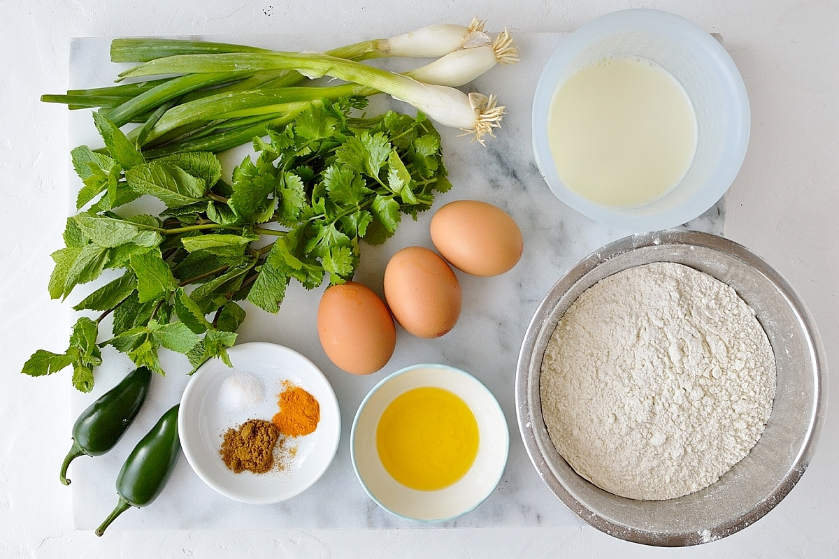 Savoury pancakes ingredients