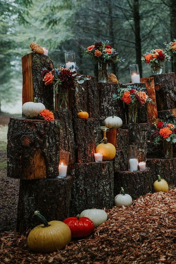 Scattered pumpkin decor