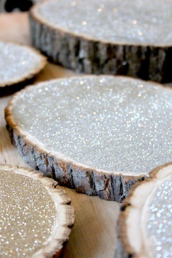 Sparkling wood cuts diy wedding centerpiece