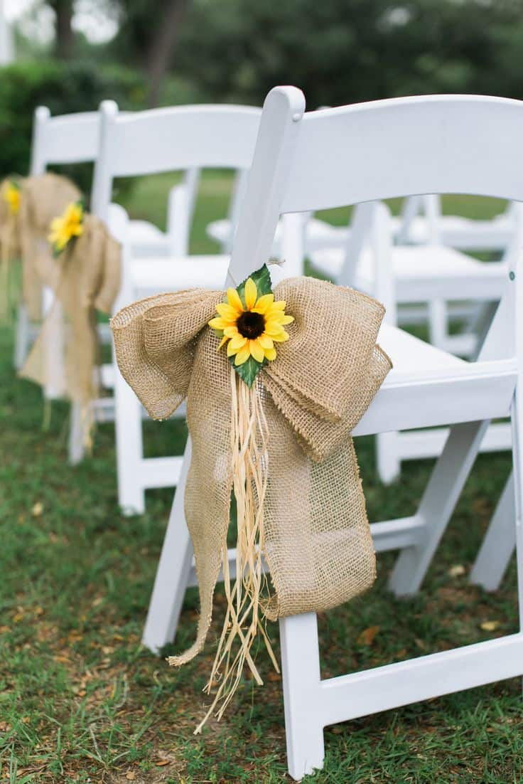 Sunflower & burlap chair decor