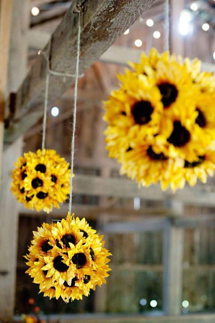 Sunflower hanging balls diy