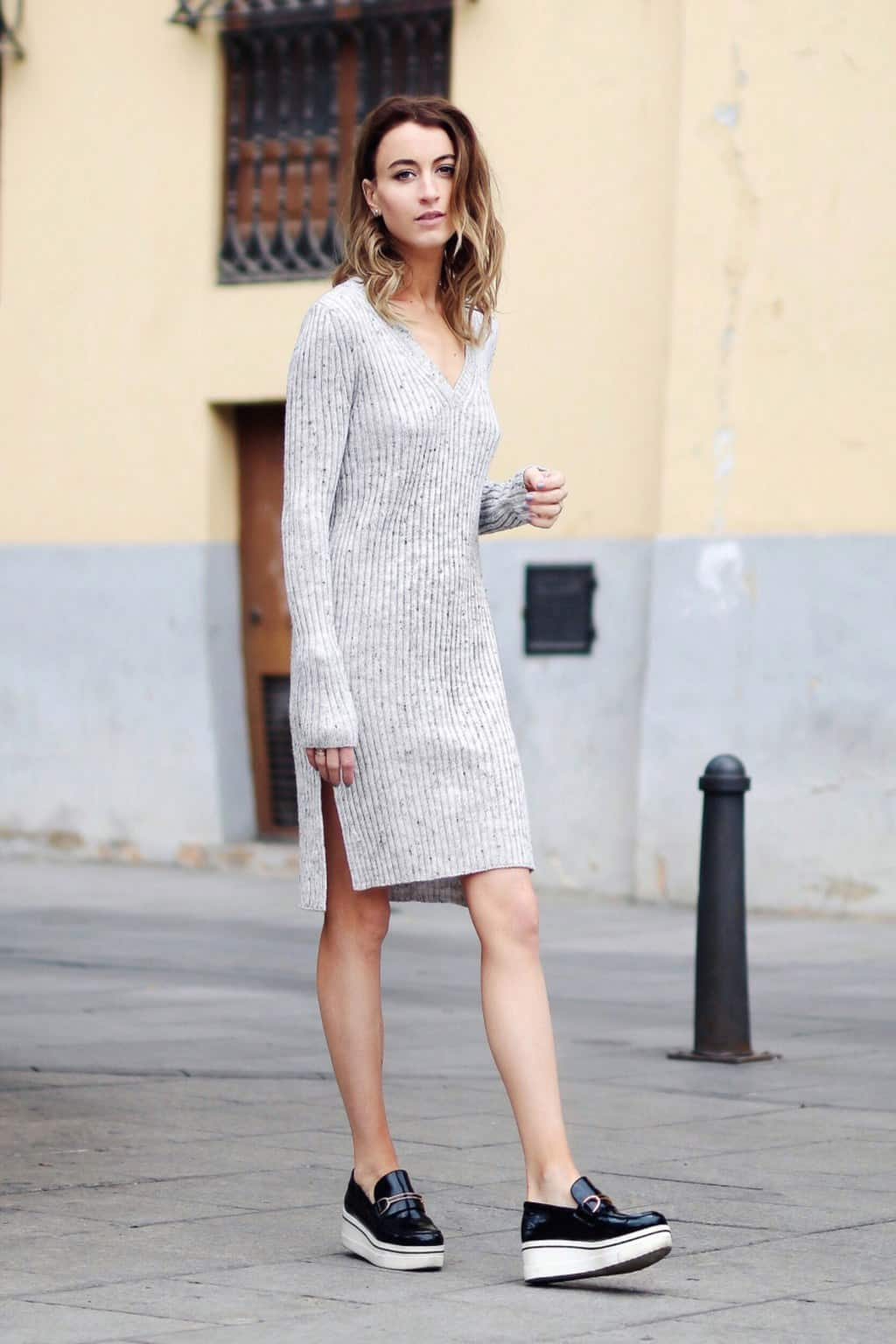 Sweater dress and loafers