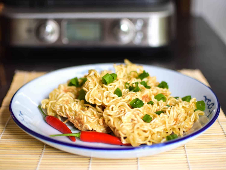 Waffle iron ramen noodles
