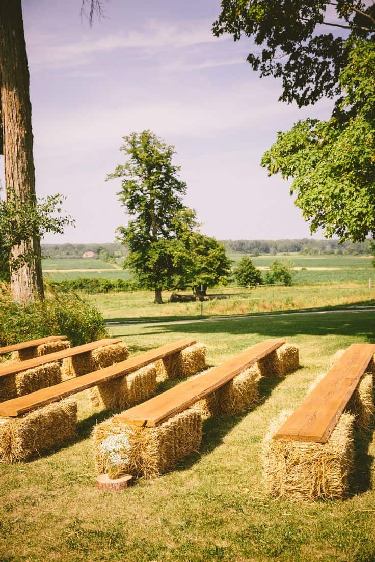 Wedding hay bale seating