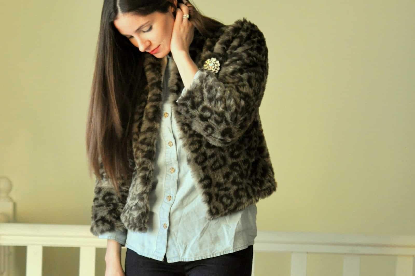 Boxy snow leopard print coat