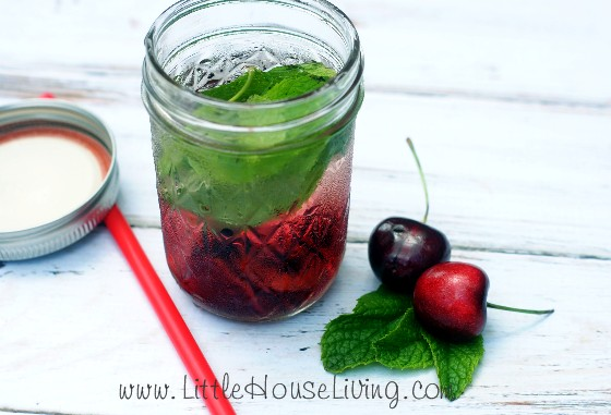 Cherry and mint infused water