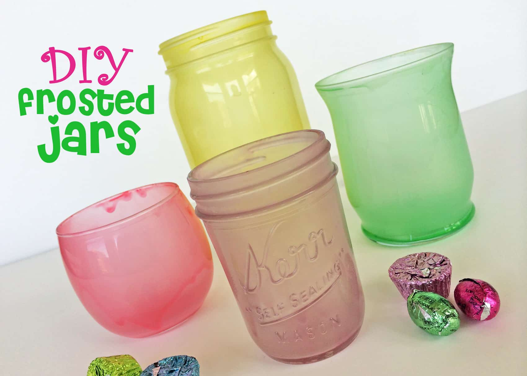 Colourful frosted jars