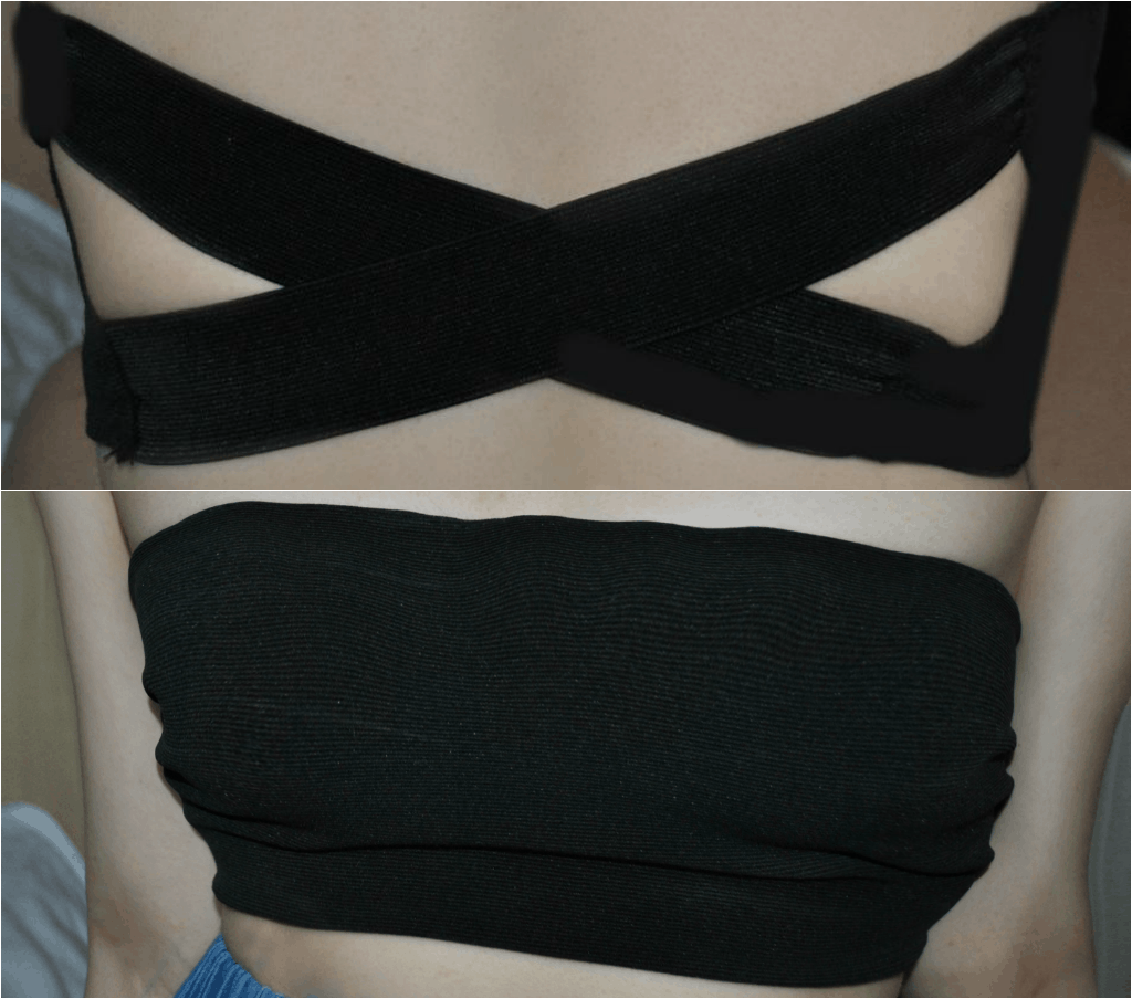 Cross back bandeau with a plain front