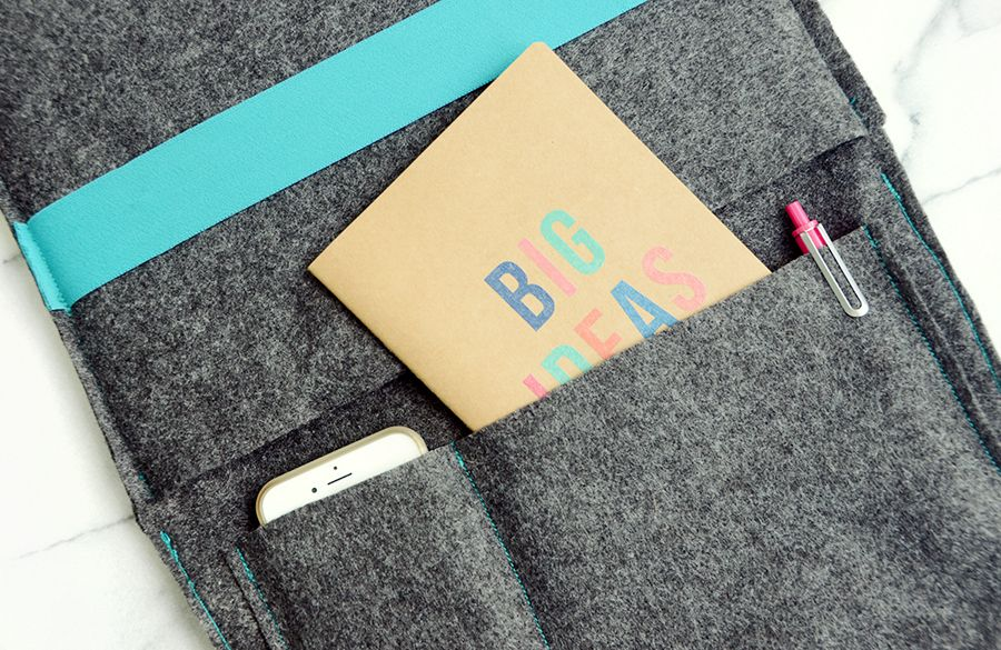 Diy felt laptop case with storage