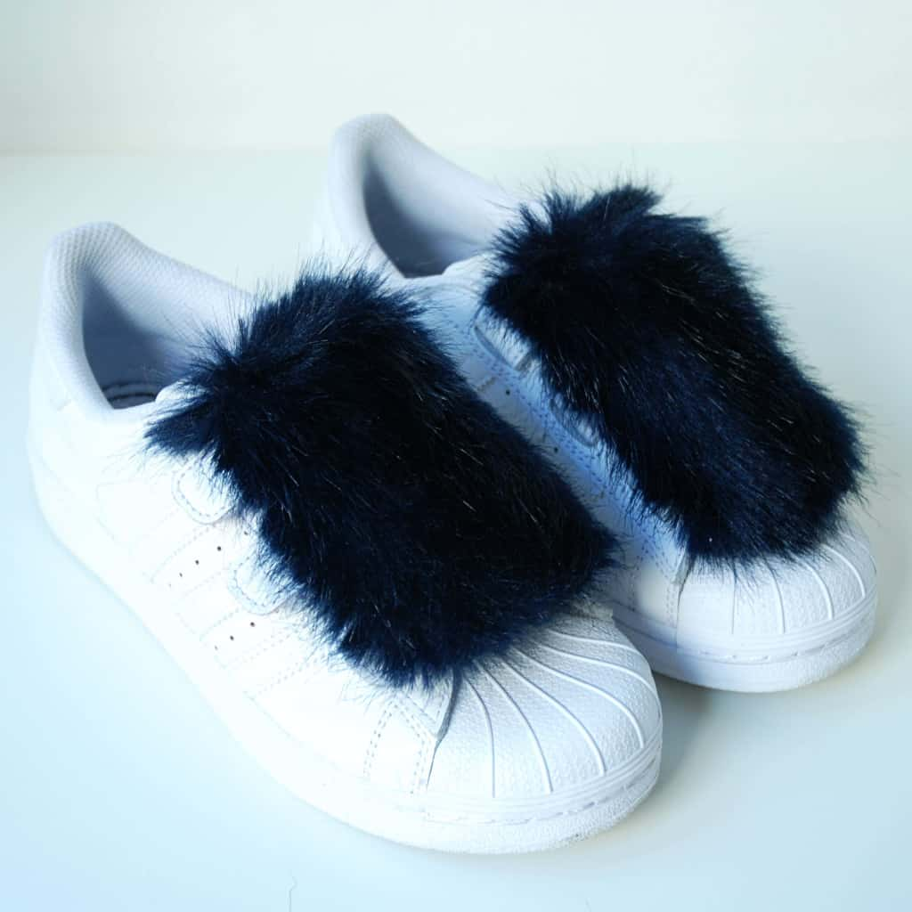 Diy faux fur sneaker toppers