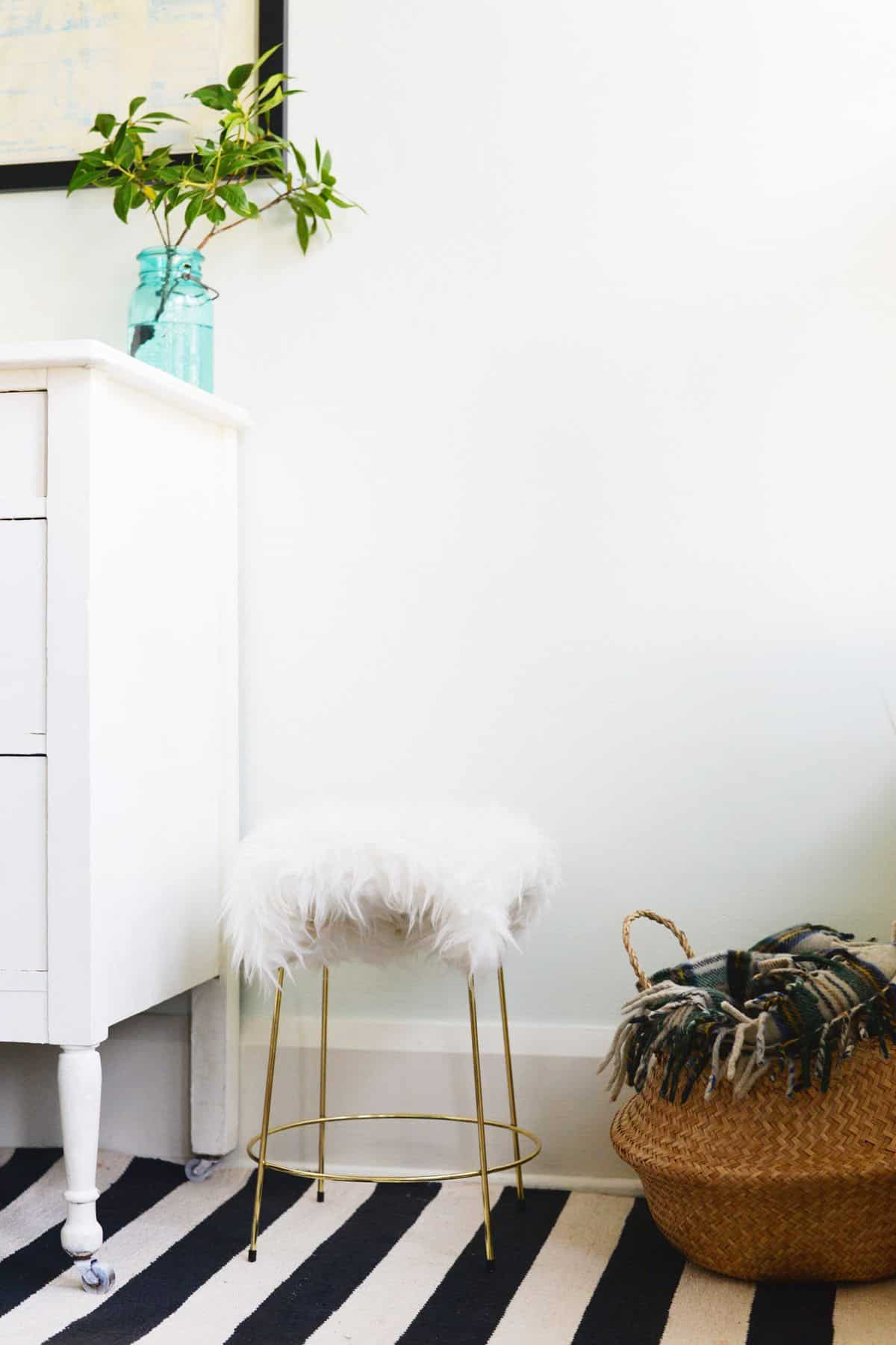 Faux fur topped stool