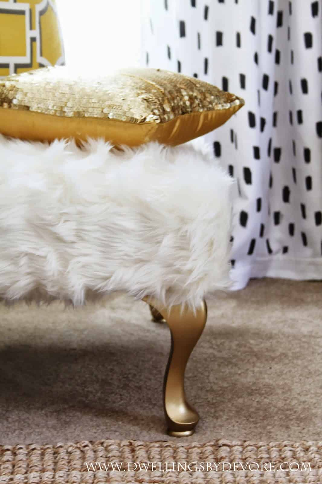 Faux fur upholstered bench