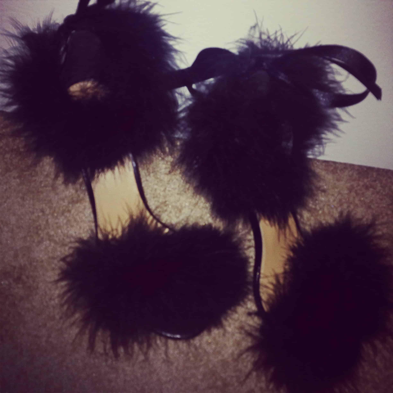 Fur strap high heels