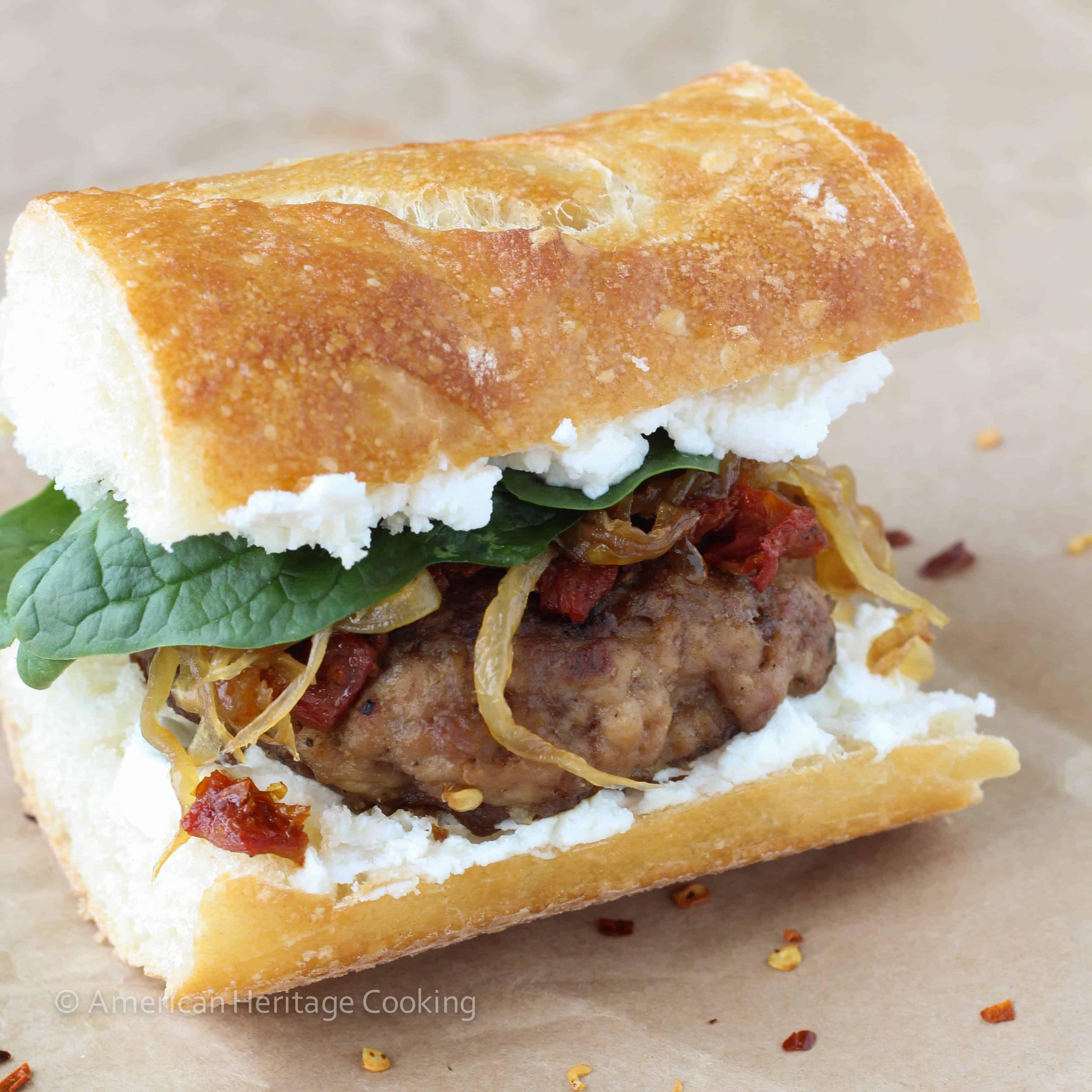 Gourmet turkey burger on a baguette