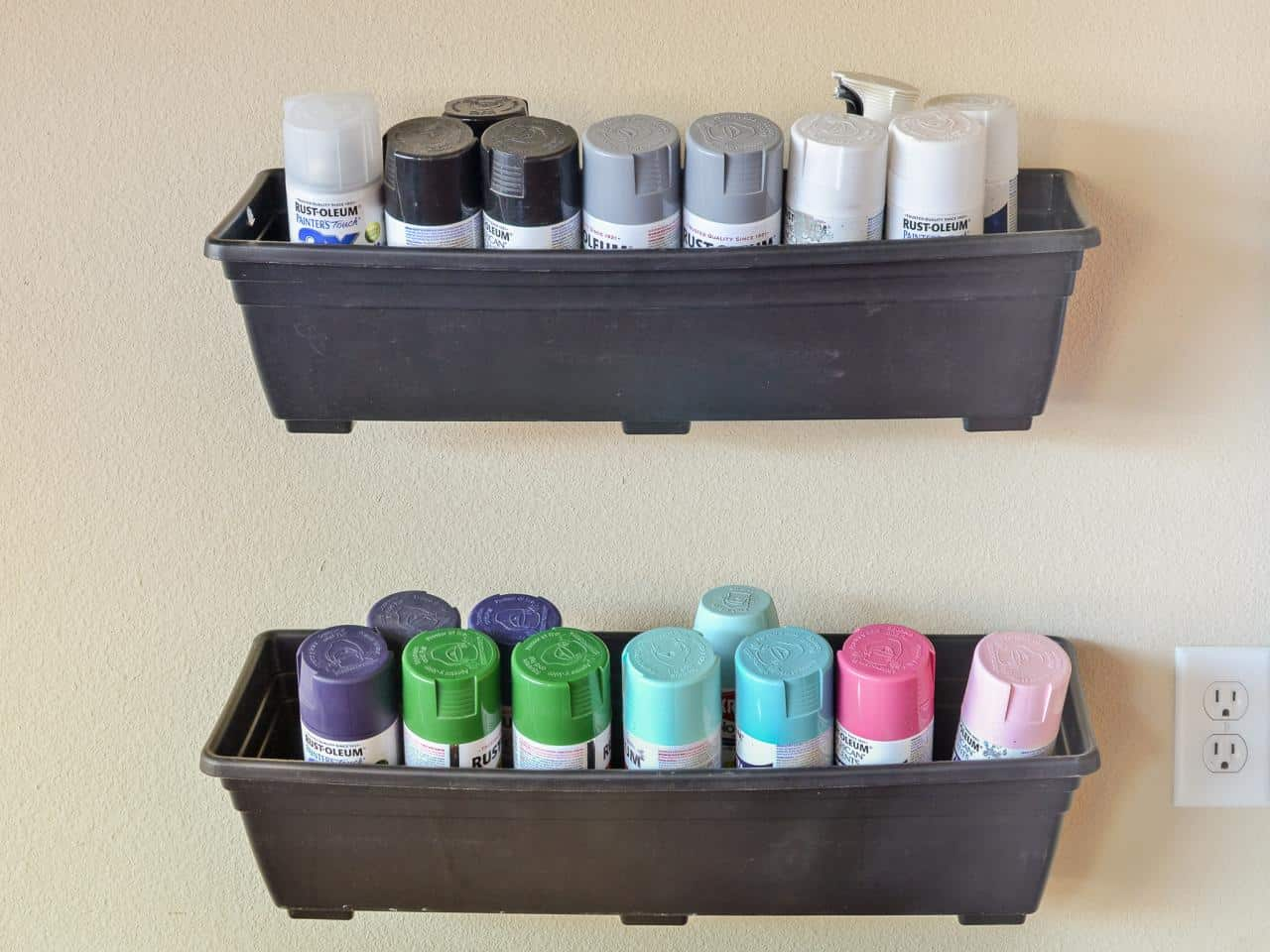 Hanging garden box paint can storage