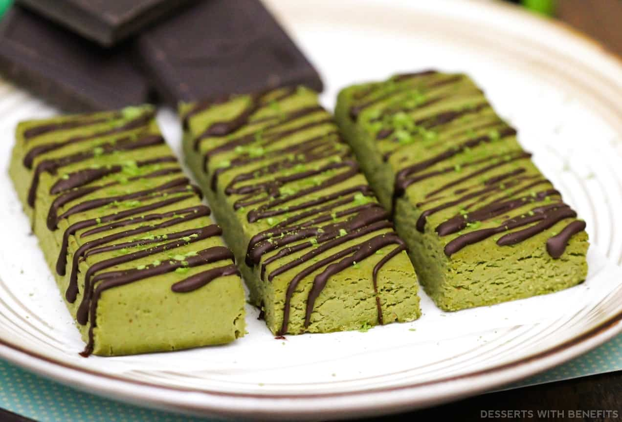 Matcha freen tea fudge protein bars