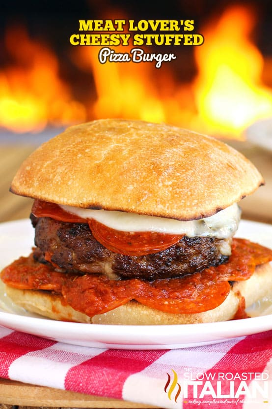 Meat lover's cheesy stuffed pizza burger