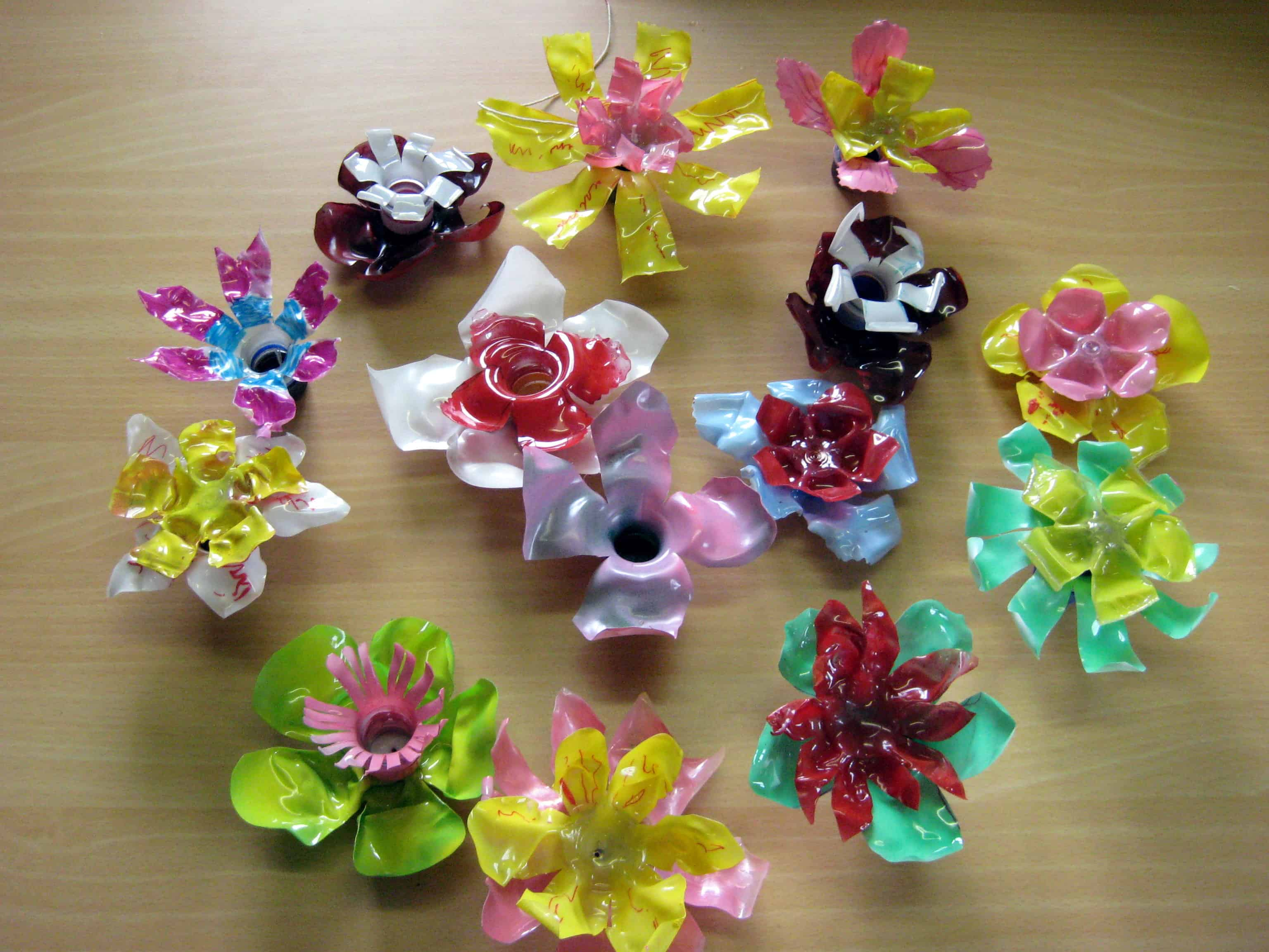Melted bottle plastic flowers