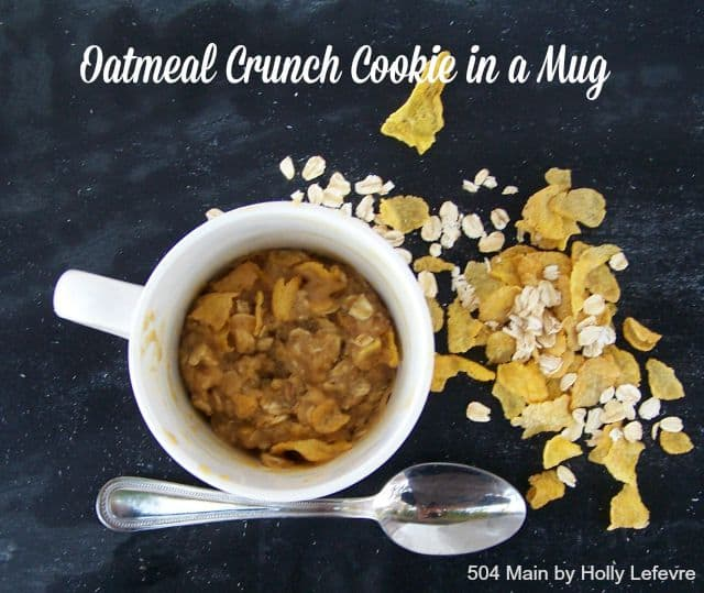 Oatmeal crunch cookie in a mug