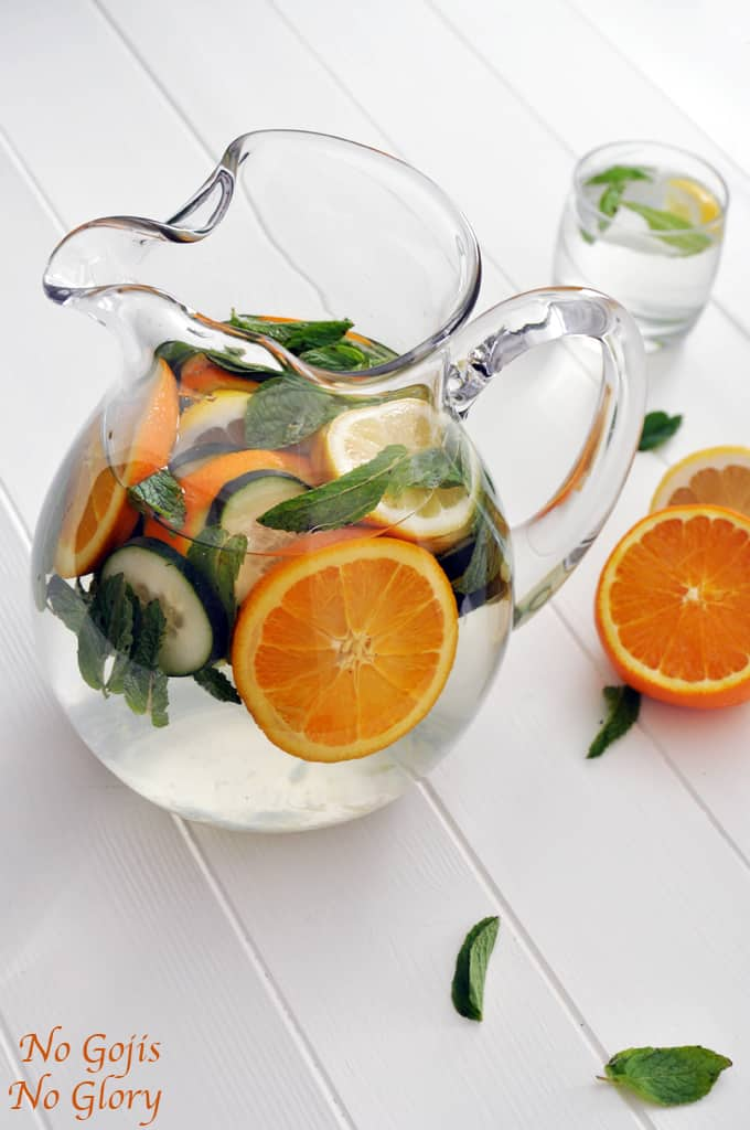 Orange, mint, and cucumber detox water