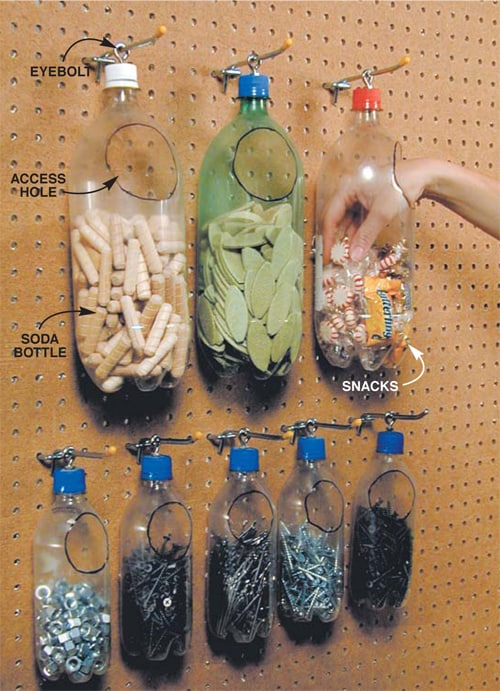 Pop bottle notions storage