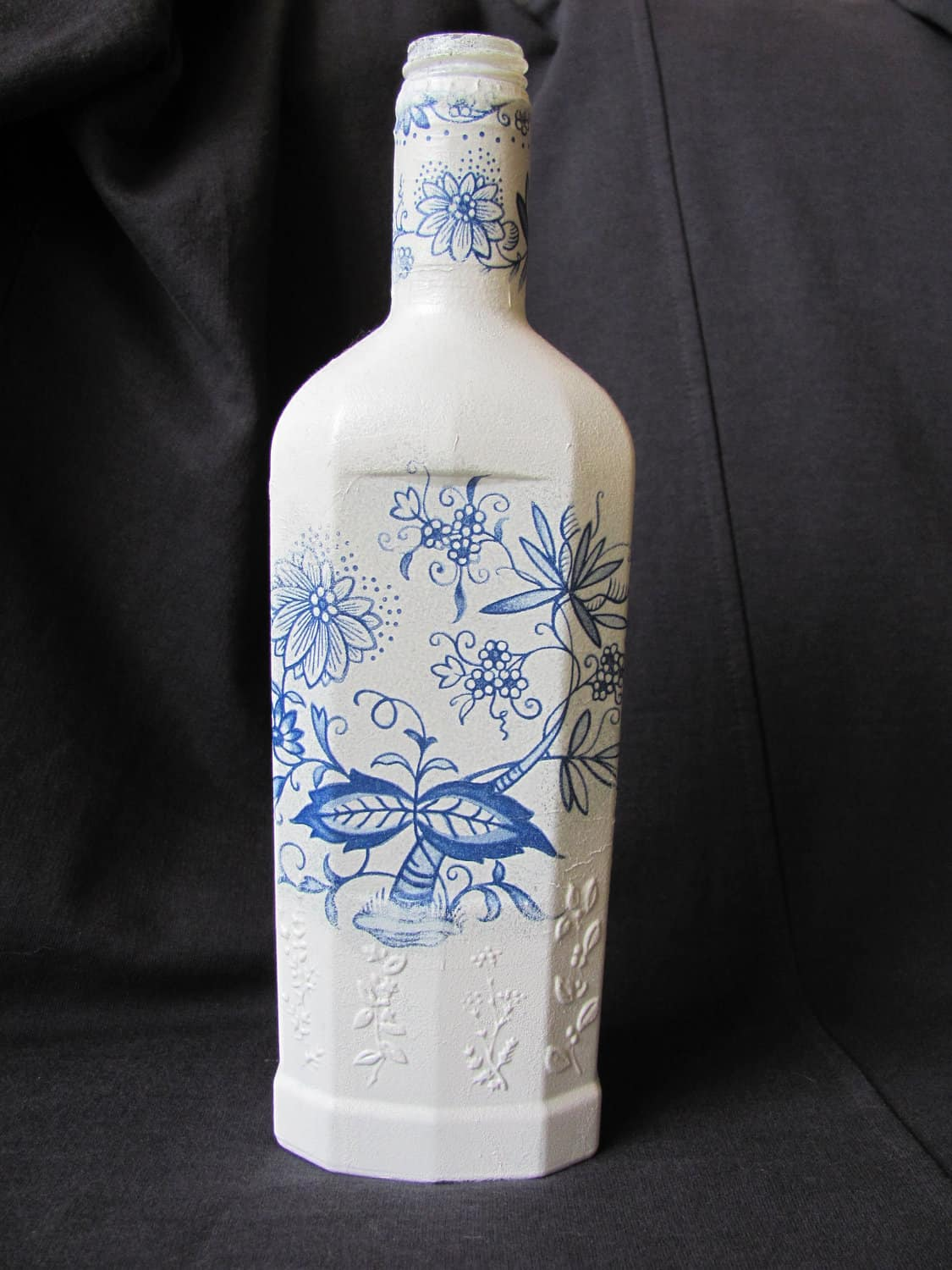 Pretty painted decoupage bottle