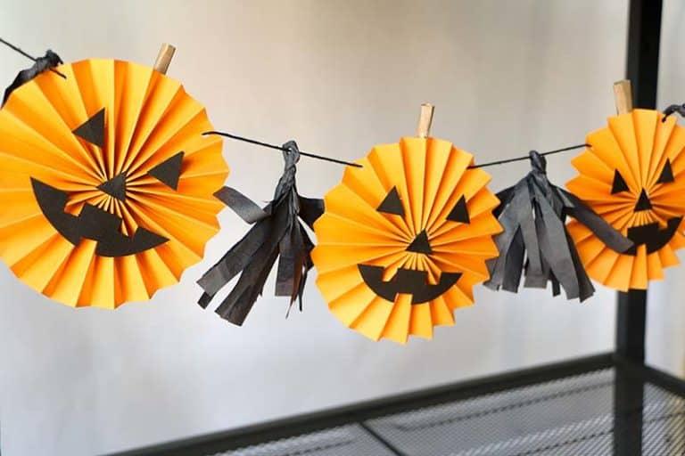 Rosette pumpkin garland diy