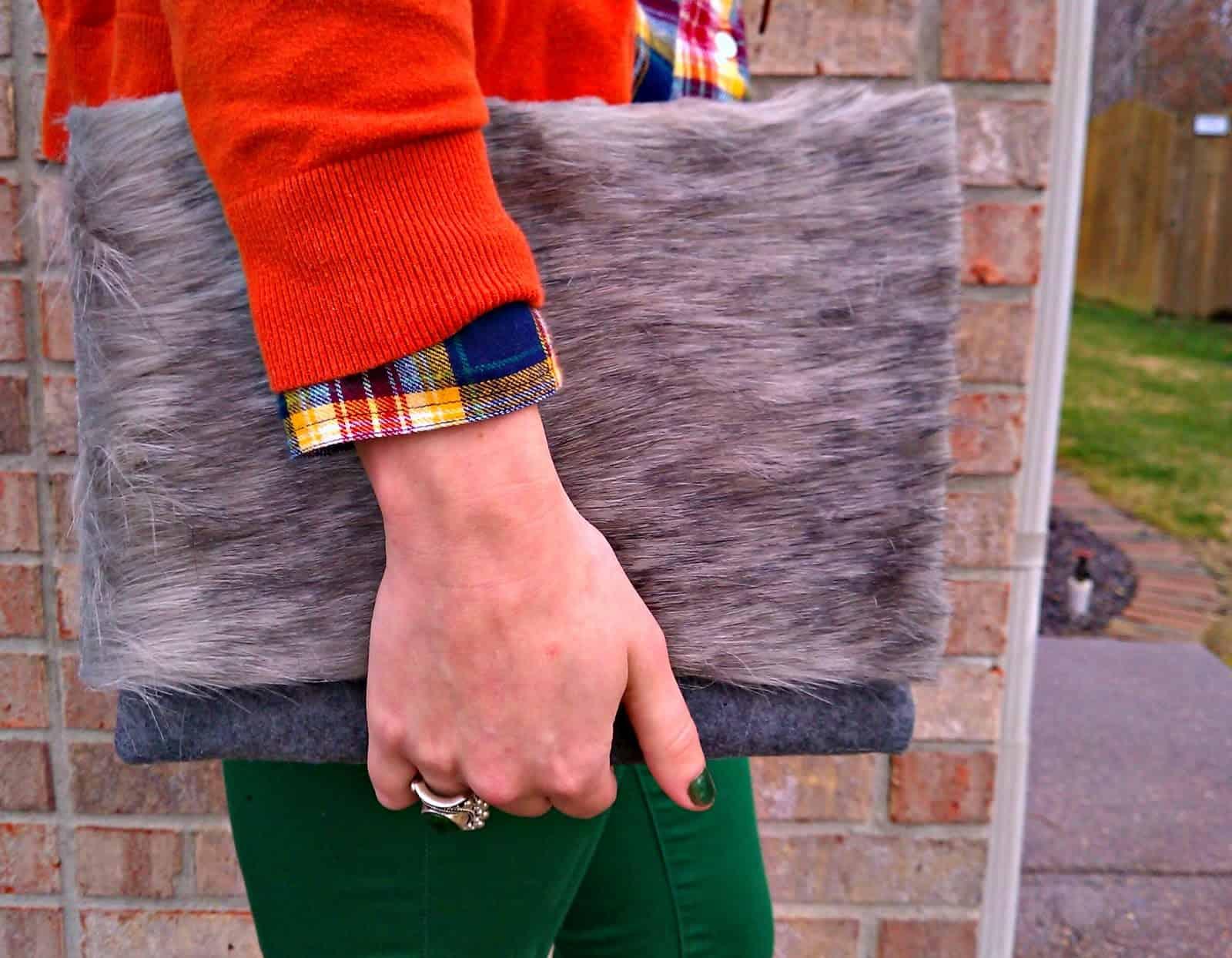 Rustic felt and faux fur clutch